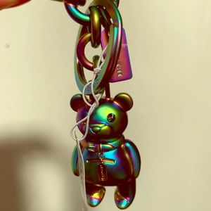 NWT Coach iridescent 3D Teddy Charm Key Fob Chain